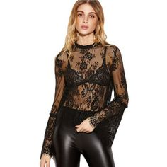 SheIn Women Sexy Blouse Black Lace Blouses Shirts Long Flare Sleeve Slim Ladies Tops New Arrival Scalloped Hem Blouse