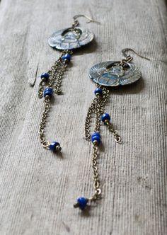 Scarab beetle chain earrings blue bead by KristineRagusDesigns, $26.00