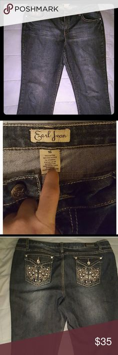 Earl Jeans. Dark wash with embellished pockets. Earl Jeans. Sz 16. Only worn once. Excellent, like new condition. Very stylish and super cute. Jeans Boot Cut