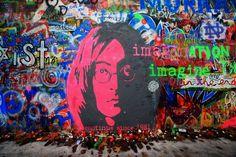 John Lennon Wall in Prague Butler we've gotta go here! Coin D'art, John Lennon Wall Prague, Flower Power, Imagine John Lennon, Best Street Art, Sand Sculptures, Art Corner, Graffiti Wall, Cinque Terre