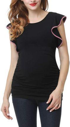 106d9817256 MAXMODA Women's Comfy Maternity Nursing Tee Shirt Short/Long Sleeve ...