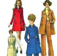 1960s Simplicity 8502 Misses Double Breasted  Full Length and Mini Coat and Pants vintage sewing pattern by mbchills