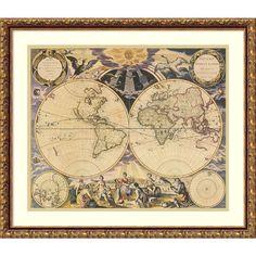 Framed Art Print 'New World Map, 1676' by Pieter Goos 25 x 22-inch