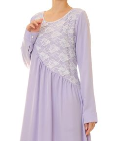 Lilac Floral Lace Modest Long Sleeves Abaya by Tailored2Modesty