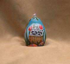 Raccoons Easter Egg Gourd Ornament Tulips Basket Hand Painted Original