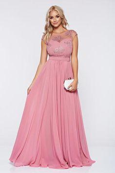 Rochie rosa de ocazie brodata voal - http://hainesic.ro/rochii/rochie-rosa-de-ocazie-brodata-voal-1418351ee-starshinersro/