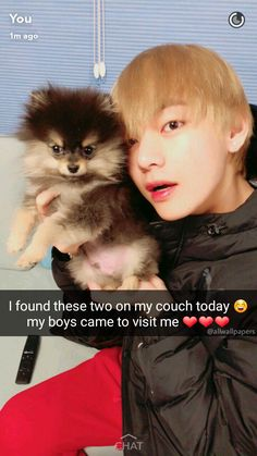 Imagine Tae coming over with his precious fluff pupper while you two are dating, even more reason to love him
