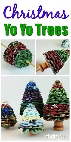 This is a guide about making yo yo Christmas trees. Christmas fabric yo yos can be used to make a variety of Christmas tree craft projects.