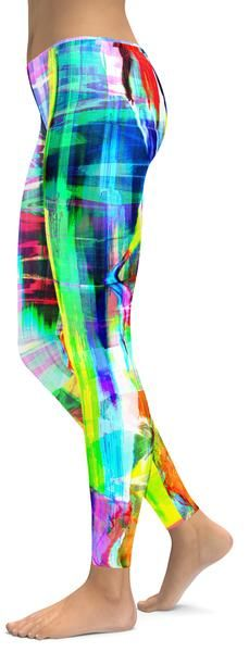 NEON UV PINK,YELLOW,PURPLE,GREEN,BLACK,RED LEGGINGS HALLOWEEN CYBER RAVE