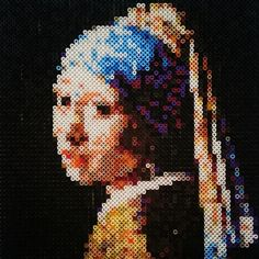Girl with a Pearl Earring - Vermeer portrait hama beads by Thea IMYBY Diy Perler Beads, Perler Bead Art, Pearler Beads, Hama Beads Patterns, Beading Patterns, Pixel Art, Creation Art, Iron Beads, Melting Beads