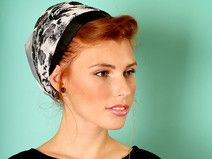 Grey head scarf with floral strap