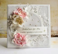 Dorota_mk: Komplety komunijne i ślubne Pretty Cards, Cute Cards, Shabby Chic Cards, Vintage Shabby Chic, Spellbinders Cards, Mothers Day Cards, Heartfelt Creations, Mix Media, Flower Cards