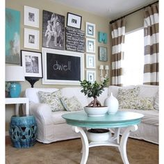 I think I need to ,ake a small square board for my square glass coffee table painted turquoise (with Martha Stewart's multi-surface chalkboard paint in green and blue) and write essages on it and place the glass top back on it
