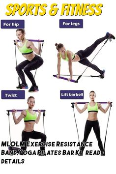 (This is an affiliate pin) MLOLM Exercise Resistance Band,Yoga Pilates Bar Kit,Portable Pilates Stick Muscle Toning Bar Home Gym Pilates with Foot Loop for for Yoga, Stretch, Sculpt, Twisting, Sit-Up Yoga Bar, Resistance Band Exercises, Sit Up, Bars For Home, Barbell, Pilates, Sculpting, Exercise Bands, Muscle