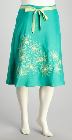 Mint & Gold Embroidered Skirt