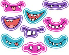 Monster Grins Digital Stamps, Cute Monster Smiles Digital Clipart, Monster Faces Line Art, Printable Monster Party, Monster Birthday Parties, Scrapbook Kit, Decoration Creche, Photobooth Props Printable, Monster Eyes, Web Design, Logo Design, Girly