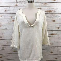 Women's JCREW LARGE Bazaar Tunic Top Off White 3/4 Sleeves Popover 66676 EUC    eBay