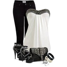 Evening casual black jeans, white halter top trimmed in black bling, black cross strap heel, black clutch