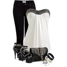 Evening casual black jeans, white halter top trimmed in black bling, black cross strap heel, black clutch