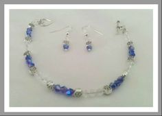 Blue &  Clear crystal set Clear Crystal, Pandora Charms, Jewelry Sets, Beaded Necklace, Crystals, Bracelets, Blue, Beaded Collar, Pearl Necklace