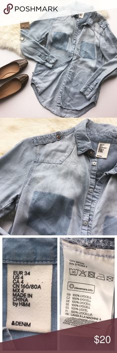 """- &DENIM - Chambray Shirt Perfect chambray for layering or wear just on its own! Copper button detail on shoulders. Excellent pre-loved condition, no flaws. True to size Small. Approx. Measurements  Bust: 18"""" Length: 27"""" 🛍Bundle & Save 20% on 2+ items! 🙅🏼No trades / selling off of Posh.  ✨Offers always welcome!✨ H&M Tops Button Down Shirts"""