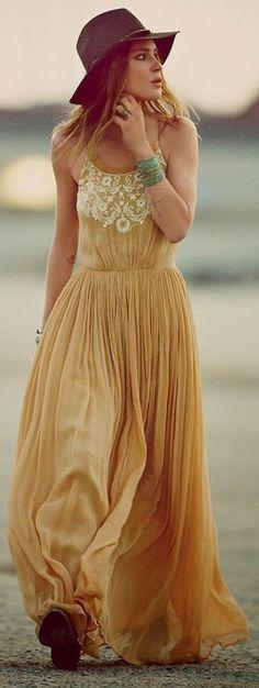 robe hippie chic, jaune Avec dentelle                                                                                                                                                                                 Plus