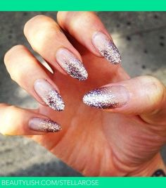 Glitter nail tips, I like how the bottom part is clear. Classic round style. Not too over the top, but still glitzy