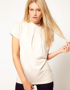 Asos Top with Pleat Front and High Neck