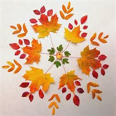 Leaves and then bear paw print for outer leaves. T & P mandala Autumn Crafts, Nature Crafts, Mandala Art, Art Et Nature, Flower Rangoli, Autumn Activities For Kids, Leaf Crafts, Pressed Flower Art, Arte Floral