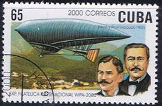 The brothers Lebaudy & their airship can be seen on a Cuban stamp issued in 1902. Photo by Rudy Pinto at aerophilatelist.blogspot.com
