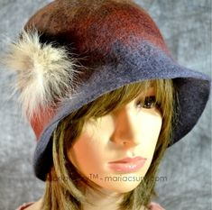 Brown grey felted hat cloche