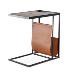 Avignon Black Powder-coated Iron/Natural Mango Wood Sofa Table with Leather Pouch Wood Sofa Table, Sofa Side Table, Wooden Side Table, Side Tables, Be Design, Diy End Tables, Leather Sofa, Leather Pouch, Centerpieces