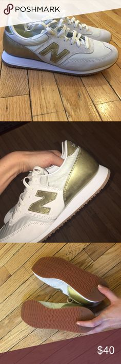 J Crew Cream and Gold New Balance Worn once for about 30 minutes. True to size, too small on me. New Balance Shoes