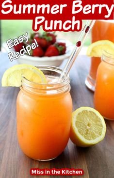 A simple 5 ingredient party punch to make for hot summer days! Great for parties, celebrations and holidays. Kids and adults will love it! Refreshing Drinks, Summer Drinks, Fun Drinks, Healthy Drinks, Beverages, Smoothies, Smoothie Drinks, Drinks Alcohol Recipes, Non Alcoholic Drinks