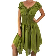 Petal Dress Green Medieval Pirate Dress Renaissance Festival Costumes... ($60) ❤ liked on Polyvore featuring costumes, dresses, grey, women's clothing, gypsy halloween costume, renaissance pirate costume, renaissance peasant costume, green costumes and renaissance gypsy costume