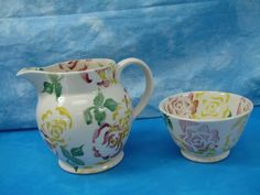 Vtg Emma Bridgewater England Hand Decorated Spongeware Milk Pitcher Cereal Bowl in Other British Pottery | eBay