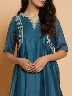 Teal Blue Embroidered Chanderi Kurta with Slip and Off White Cotton Palazzo- Set of 2 Pakistani Dress Design, Pakistani Dresses, Indian Dresses, Embroidery On Kurtis, Kurti Embroidery Design, Kurta Neck Design, Cotton Slip, Indian Designer Wear, Traditional Dresses