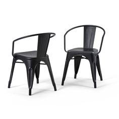 Larkin Metal Dining Arm Chair - Distressed Black Silver - Simpli Home