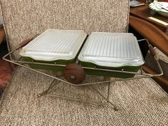 Twin Pyrex #503 Verde Casseroles in original cradle! Neat!