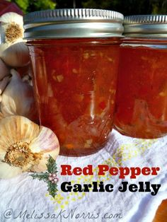 Red Pepper Garlic Jelly  Perfect to way to preserve garlic and the last peppers from the garden. This makes a gorgeous Christmas gift and also builds up the food storage!