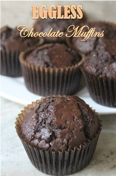 I love baking muffins, not only they are delicious. But they are a breeze to make. You just measure few ingredients and dump them into. Eggless Chocolate Muffins Recipe, Eggless Desserts, Eggless Recipes, Eggless Baking, Easy Desserts, Baking Recipes, Eggless Muffins, Easy Recipes, Indian Desserts
