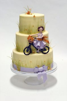 Studio Cake Design is a custom wedding and specialty cake shop serving the greater Bay Area. Beautiful Cake Pictures, Beautiful Cakes, Amazing Cakes, Bicycle Cake, Bike Cakes, Bicycle Party, Cupcakes, Cupcake Cakes, Biscuits