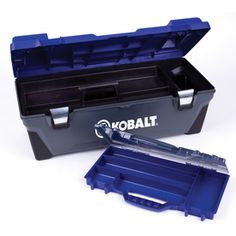 Kobalt�26-in Lockable Blue Plastic Tool Box
