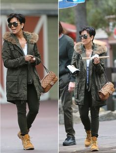 Kris Jenner - My Mother has this Parka Timberland Outfits, Mode Timberland, Timberland Stiefel Outfit, Timberland Heels, Timberland Fashion, Estilo Kris Jenner, Kris Jenner Hair, Kris Jenner Style, Fall Winter Outfits