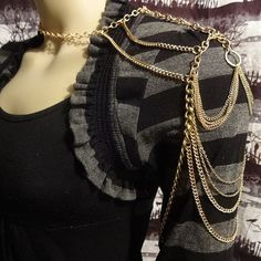 Royal Chains Golden Shoulder Chain Necklace  OOAK by HCHeart, $30.00