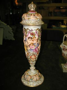 CAPODIMONTE VASE WITH NUDE GODDESSES AND CHERUBS