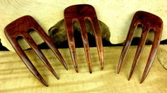Laos Rosewood 4 7/8 Inch Three Prong Curved by OverTheHawaiianMoon