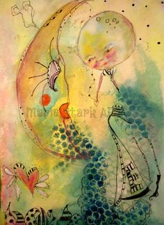 Moon to Moon the phases of our lives whimsical by MarieStarkART