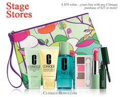 January 2015: Stage stores (Goodys, Peebles, Palais Royal, Bealls) offers this Clinique bonus. http://clinique-bonus.com/other-us-stores/