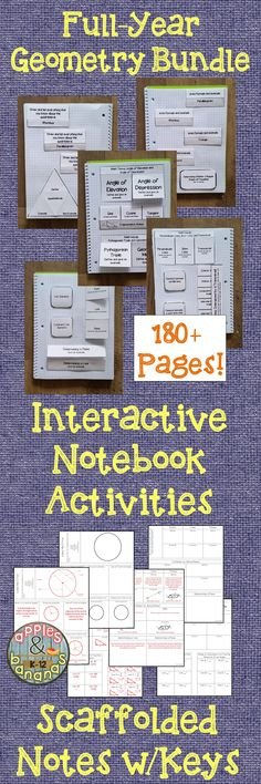 Full-year geometry bundle containing 180+ pages of interactive notebook activities and scaffolded notes with teacher answer keys. Topics include: lines and angles, inductive and deductive reasoning, perpendicular and parallel lines, triangles, quadrilaterals, similar polygons, right triangles, circles, polygons and area, surface area and volume, & transformations. #geometry #inb #interactivenotebooks #mathjournals #math #highschoolgeometry #middleschoolgeometry #mathnotetaking